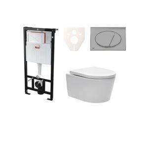 Závěsný set WC SAT Brevis, nádržka Alcaplast Sádromodul, tlačítko CR lesk SIKOASW2
