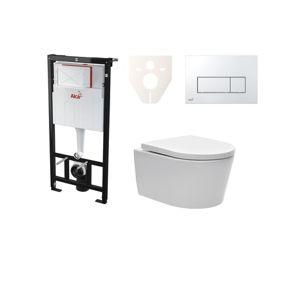 Závěsný set WC SAT Brevis, nádržka Alcaplast Sádromodul, tlačítko CR lesk SIKOASW8