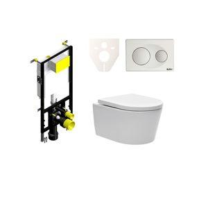 Závěsný set WC SAT Brevis, nádržka SIKO, tlačítko bílé SIKOBSW2