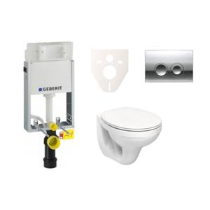 Závěsný set WC Kolo Nova Pro + modul Geberit Kombifix s tlačítkem Delta 21 (chrom lesk) SIKOGE1K2