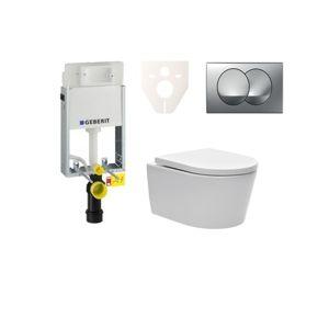Závěsný set WC SAT Brevis, nádržka Geberit Kombifix, tlačítko CR mat SIKOGE1W72