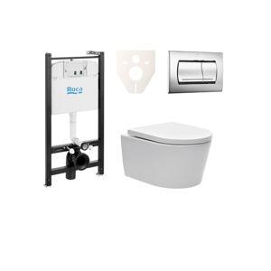 Závěsný set WC SAT Brevis, nádržka ROCA, tlačítko CR lesk SIKORW2