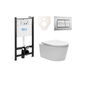 Závěsný set WC SAT Brevis, nádržka ROCA, tlačítko CR mat SIKORW3