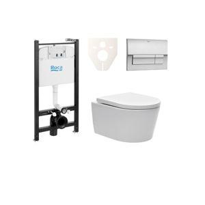 Závěsný set WC SAT Brevis, nádržka ROCA, tlačítko CR mat SIKORW6