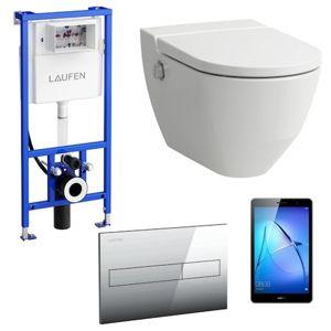 Akční balíček Laufen NAVIA závěsné WC + podomítkový modul + WC tlačítko chrom lesk + tablet