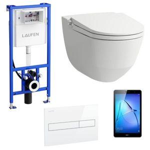 Akční balíček Laufen RIVA závěsné WC + podomítkový modul + WC tlačítko bílé + tablet