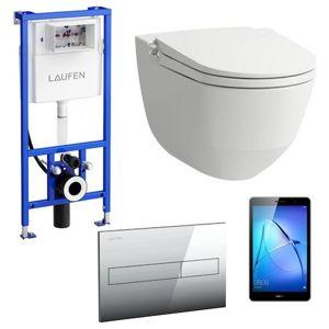 Akční balíček Laufen RIVA závěsné WC + podomítkový modul + WC tlačítko chrom matné + tablet
